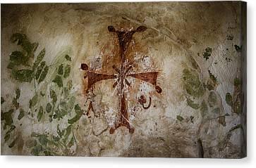 Bet She'an Baptistery Cross Canvas Print by Stephen Stookey