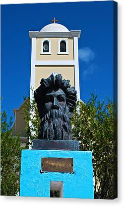 Betances Monument And Lares Church Canvas Print by Ricardo J Ruiz de Porras