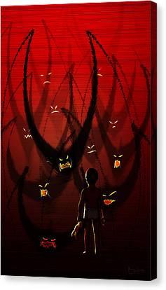 Canvas Print featuring the digital art Betes Noires by Matt Lindley