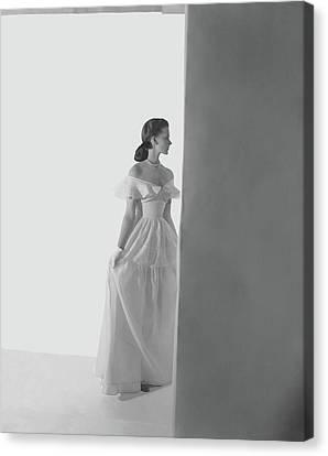 One-shoulder Dress Canvas Print - Bethel Leslie Wearing An Off-the-shoulder Dress by Horst P. Horst