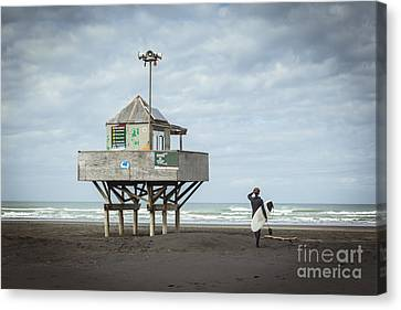 Auckland Canvas Print - Bethells Beach New Zealand Lifeguard Tower And Surfer  by Colin and Linda McKie
