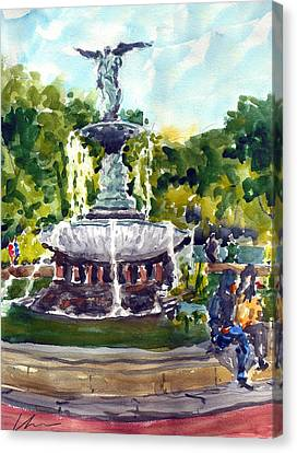 Bethesda Fountain At Central Park Canvas Print by Chris Coyne