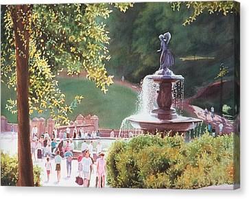 Bethesda Fountain Canvas Print by Daniel Dayley