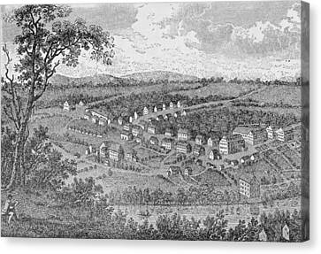 Bethlehem, A Moravian Settlement In Pennsylvania, From The Pageant Of America Canvas Print by American School
