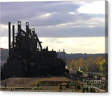 Bethlehem Steel On The Lehigh River Canvas Print by Jacqueline M Lewis