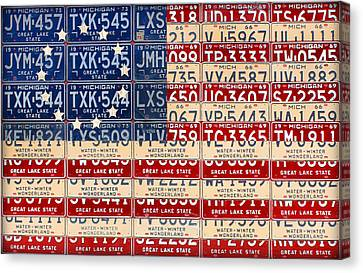 Betsy Ross American Flag Michigan License Plate Recycled Art On Red Board Canvas Print