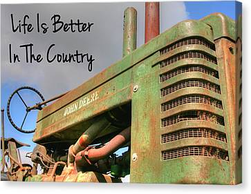 Antique Tractors Canvas Print - Better In The Country by Heather Allen