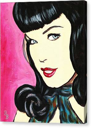 Bettie Page Pop Art Painting Canvas Print by Bob Baker