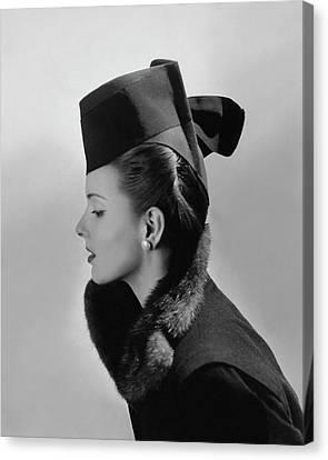 Bettina Bolegard Wearing A Chechia Hat Canvas Print by Horst P. Horst