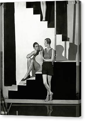 Young Man Canvas Print - Bettina Jones Posing With A Male Model by George Hoyningen-Huene