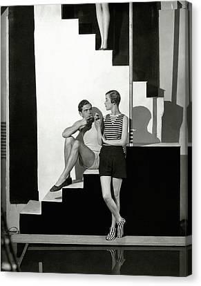 Bettina Jones Posing With A Male Model Canvas Print