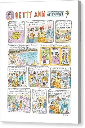 'betty Ann In Cannes' Canvas Print by Roz Chast