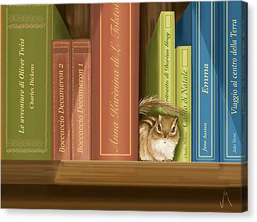 Between The Books Canvas Print