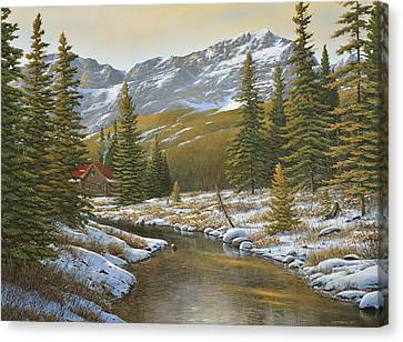 Between The Evergreens Canvas Print