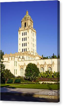 Police Canvas Print - Beverly Hills Police Station by Paul Velgos