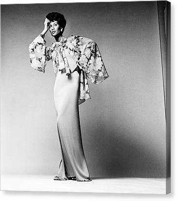 Beverly Johnson Wearing A Dress And Chiffon Canvas Print