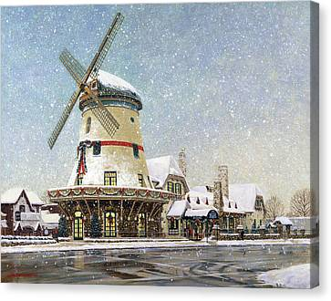 Bevo Mill At Christmas Canvas Print by Don  Langeneckert