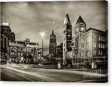 Bexar County Courthouse And Tower Life Building Main Plaza In Bw Monochrome - San Antonio Texas Canvas Print by Silvio Ligutti