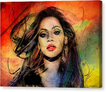 Woman Drawings Drawings Canvas Print - Beyonce by Mark Ashkenazi
