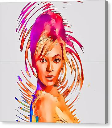 Beyonce Splash Of Color By Gbs Canvas Print by Anibal Diaz