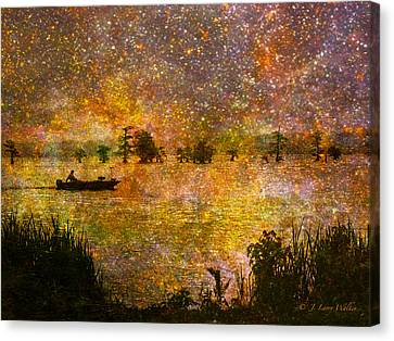 Beyond The Reeds Canvas Print by J Larry Walker
