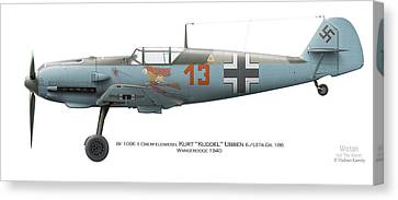 Bf 109e-1 Oberfeldwebel Kurt Ubben 6./tr.gr. 186. Wangerooge 1940 Canvas Print