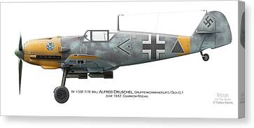 Profile Canvas Print - Bf 109e-7/b  Maj. Alfred Druschel Gruppenkommandeur I./sch.g.1 June 1942. Charkow-rogan by Vladimir Kamsky