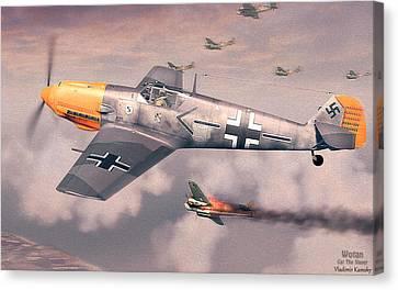 Profile Canvas Print - Bf 109e Geschwaderkommodore Jg 26 Adolf Galland by Vladimir Kamsky