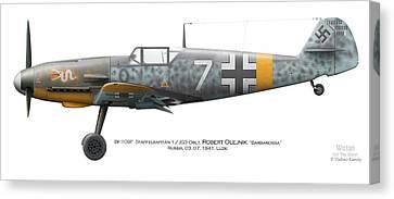 Bf 109f-2. Staffelkapitan 1./jg 3 Oblt. Robert Olejnik. 3 July 1941. Lyzk. Russia. 1941 Canvas Print
