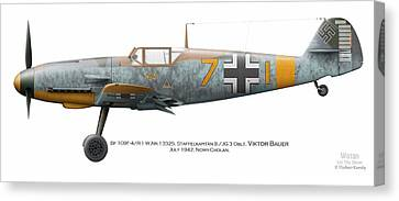Bf 109f-4/r-1 W.nr.13325. Staffelkapitan 9./jg 3 Oblt. Viktor Bauer. July 1942. Nowy-cholan Canvas Print by Vladimir Kamsky