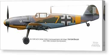 Bf 109f-4/r-1 W.nr.13325. Staffelkapitan 9./jg 3 Oblt. Viktor Bauer. June 1942. Shchigry Canvas Print by Vladimir Kamsky