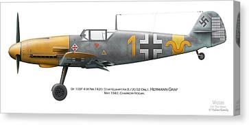Bf 109f-4 W.nr.7420. Staffelkapitan 9./jg 52 Oblt. Hermann Graf. May 1942. Charkow-rogan. Canvas Print by Vladimir Kamsky