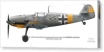 Bf109e-7 W.nr. 6095 Gruppenkommandeur I./lg2 Hptm. Herbert Ihlefeld. Barbarossa. 1941 Canvas Print