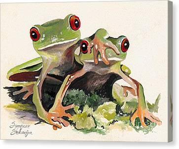 Bff Froggies Canvas Print by Suzanne Schaefer