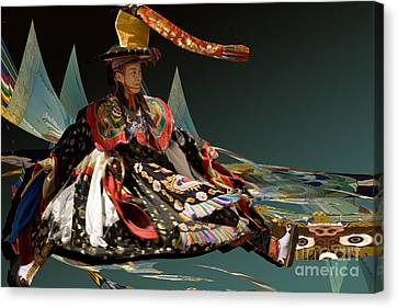 Canvas Print featuring the digital art Bhutanese Dancer by Angelika Drake