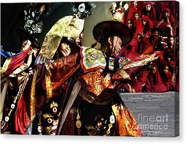 Canvas Print featuring the digital art Bhutanese Dancers by Angelika Drake
