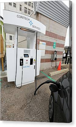 Bi-directional Electric Vehicle Charger Canvas Print by Jim West