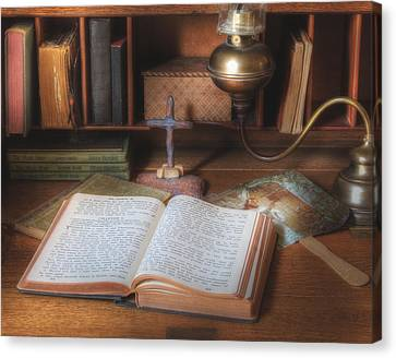 Bible Study By Oil Lamp Canvas Print by David and Carol Kelly