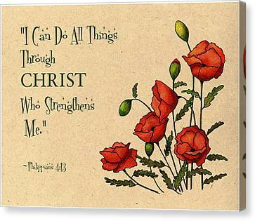 Bible Verse With Poppies Canvas Print by Joyce Geleynse