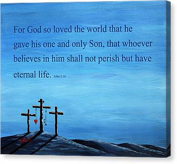 Sacred Artwork Canvas Print - Bible Verses Typography - John 3 16 by Shawna Erback