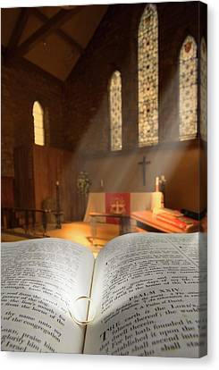Bible With A Ring In Church Sanctuary Canvas Print by John Short