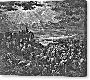 Biblical Battle Scene Engraving Canvas Print by