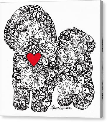 Canvas Print featuring the drawing Bichon Frise by Melissa Sherbon