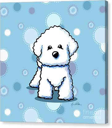 Bichon Frise On Dots Canvas Print