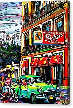Bici Taxis And Almendrones Canvas Print by Arturo Cisneros