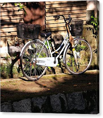 Canvas Print featuring the photograph Bicycle And Baskets Kyoto - Philosophers' Walk by Jacqueline M Lewis