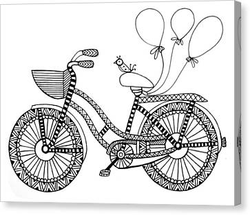 Bicycle Baloons Canvas Print