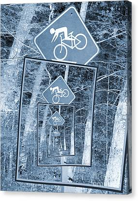 Bicycle Caution Traffic Sign Canvas Print by Phil Perkins