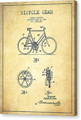 Bicycle Gear Patent Drawing From 1924 - Vintage Canvas Print