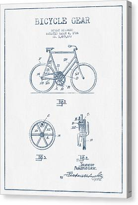 Bicycle Gear Patent Drawing From 1924 - Blue Ink Canvas Print